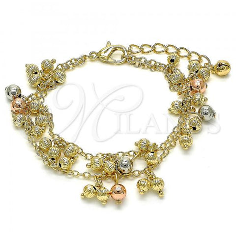 Gold Layered 03.331.0034.08 Charm Bracelet, Ball and Rattle Charm Design, Polished Finish, Tri Tone