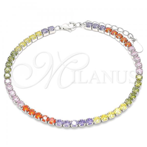 Sterling Silver 03.332.0003.07 Tennis Bracelet, with Multicolor Cubic Zirconia, Polished Finish, Rhodium Tone