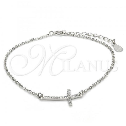 Sterling Silver 03.336.0029.07 Fancy Bracelet, Cross Design, with White Micro Pave, Polished Finish, Rhodium Tone