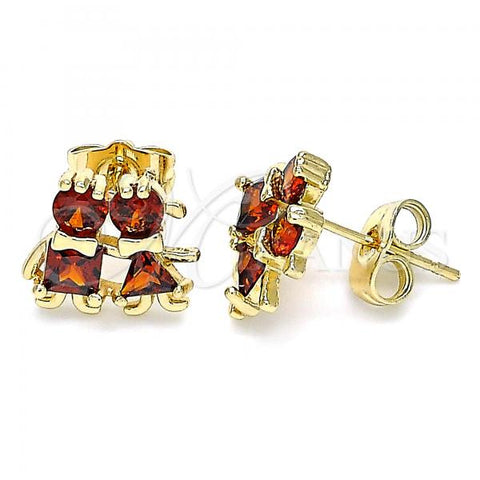 Gold Layered 02.210.0373.1 Stud Earring, Little Girl and Little Girl Design, with Garnet Cubic Zirconia, Polished Finish, Golden Tone