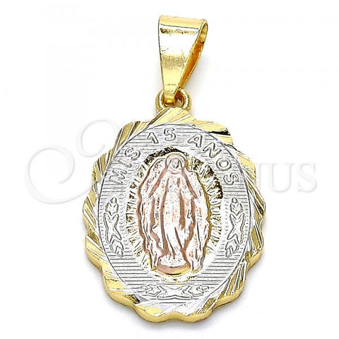 Gold Layered 05.351.0008 Religious Pendant, Virgen Maria Design, Diamond Cutting Finish, Tri Tone