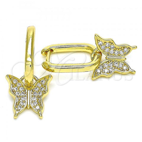 Gold Layered 02.341.0041 Dangle Earring, Butterfly Design, with White Micro Pave, Polished Finish, Golden Tone