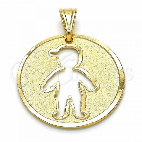 Gold Layered 03.32.0244 Fancy Pendant, Little Boy Design, Matte Finish, Golden Tone