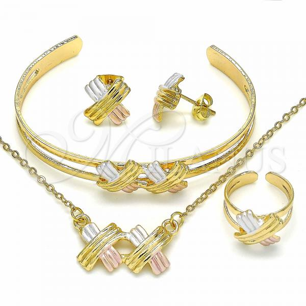 Gold Layered 06.361.0012 Necklace, Bracelet, Earring and Ring, Polished Finish, Tri Tone