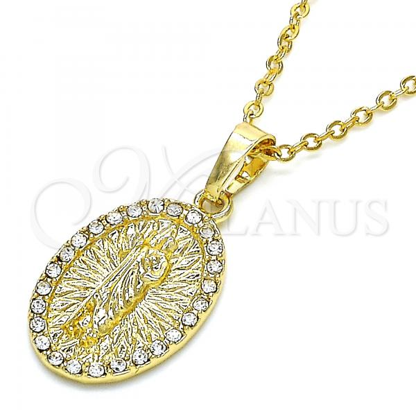 Gold Layered 05.213.0063 Religious Pendant, San Judas Design, with White Crystal, Polished Finish, Golden Tone