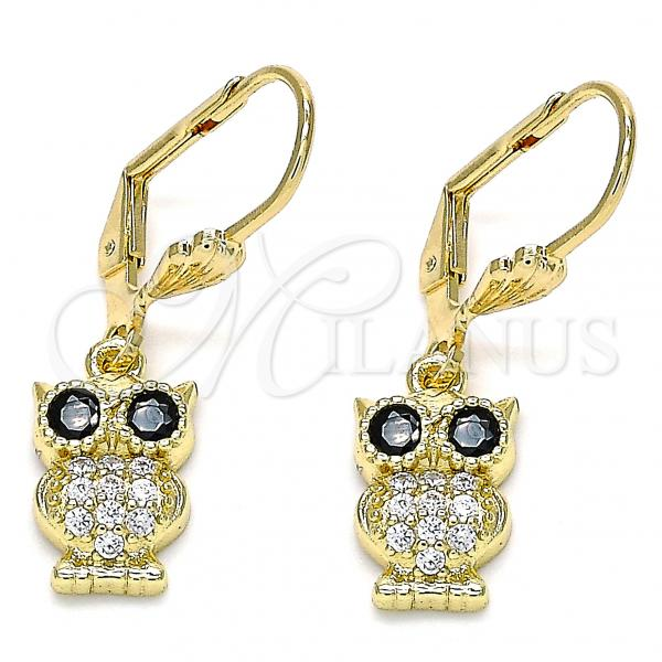 Gold Layered 02.210.0348 Dangle Earring, Owl Design, with Black and White Micro Pave, Polished Finish, Golden Tone