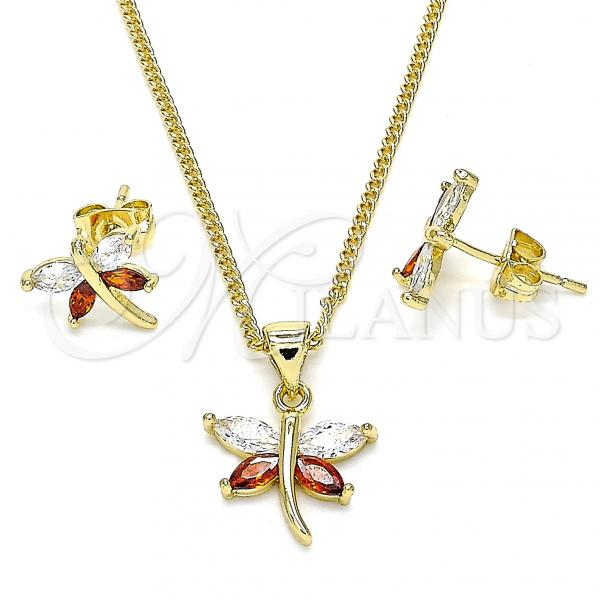 Gold Layered 10.213.0014 Earring and Pendant Adult Set, Dragon-Fly Design, with Garnet and White Cubic Zirconia, Polished Finish, Golden Tone