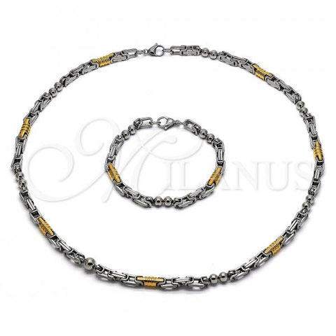 Stainless Steel 06.363.0003.1 Necklace and Bracelet, Polished Finish, Two Tone