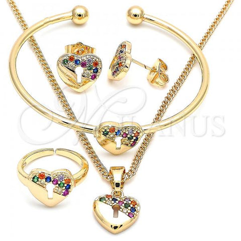 Gold Layered 06.210.0026.1 Earring and Pendant Children Set, Heart and Lock Design, with Multicolor Micro Pave, Polished Finish, Golden Tone