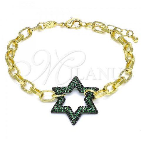 Gold Layered 03.341.0053.4.07 Fancy Bracelet, Paperclip and Star of David Design, with Green Micro Pave, Polished Finish, Black Rhodium Tone