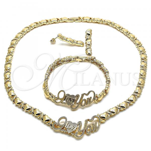Gold Layered 06.372.0003 Necklace, Bracelet and Earring, Polished Finish, Golden Tone Hugs and Kisses and Love Design, Polished Finish, Golden Tone