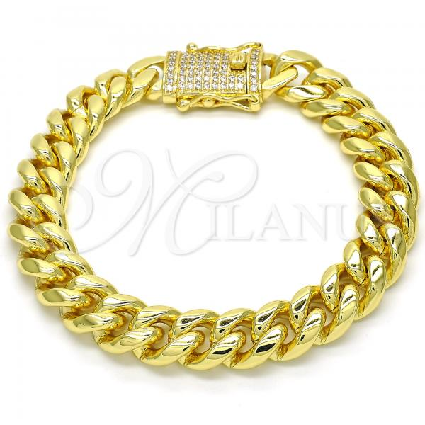 Gold Layered 03.278.0005.09 Basic Bracelet, Miami Cuban Design, with White Cubic Zirconia, Polished Finish, Golden Tone