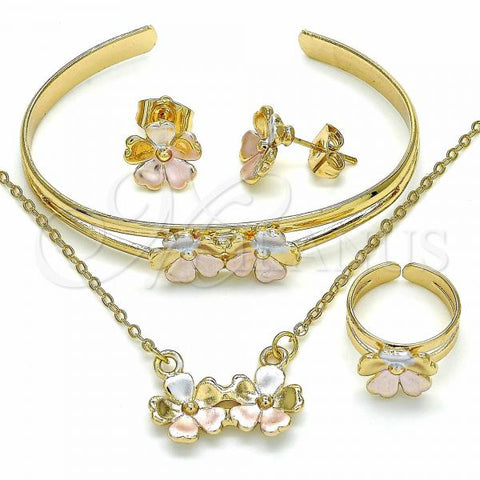 Gold Layered 06.361.0014 Necklace, Bracelet, Earring and Ring, Flower Design, Polished Finish, Tri Tone