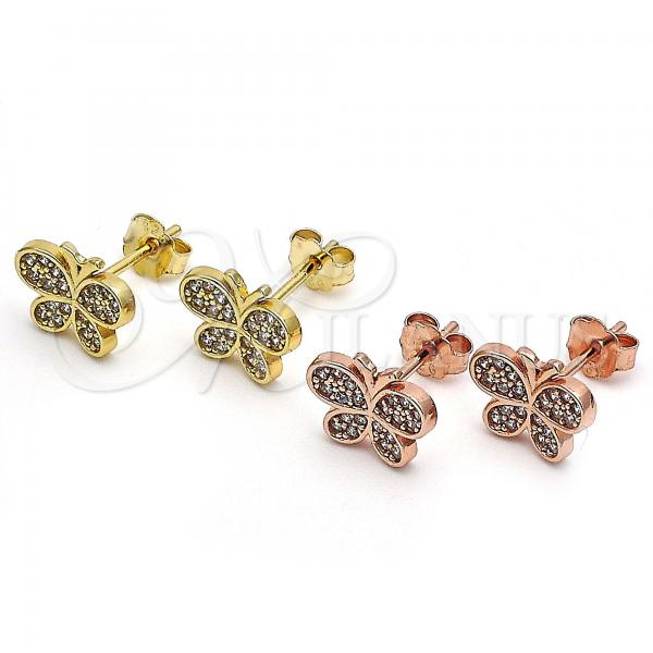Sterling Silver Stud Earring, Butterfly Design, with Micro Pave, Golden Tone