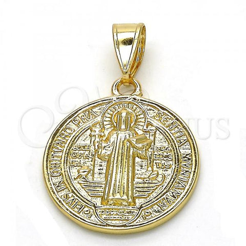 Gold Layered 05.253.0065 Religious Pendant, San Benito Design, Polished Finish, Golden Tone