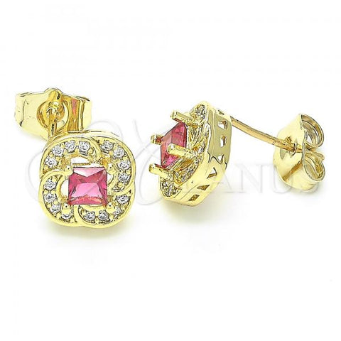 Gold Layered 02.156.0393 Stud Earring, with Ruby and White Cubic Zirconia, Polished Finish, Golden Tone