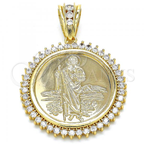 Gold Layered 05.63.1160 Religious Pendant, San Judas and Centenario Coin Design, with White Cubic Zirconia, Polished Finish, Golden Tone