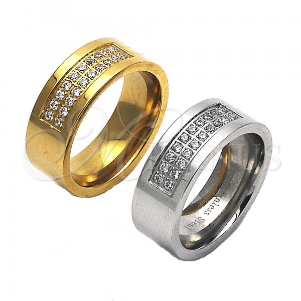 Stainless Steel Mens Ring, with Cubic Zirconia, Steel Tone