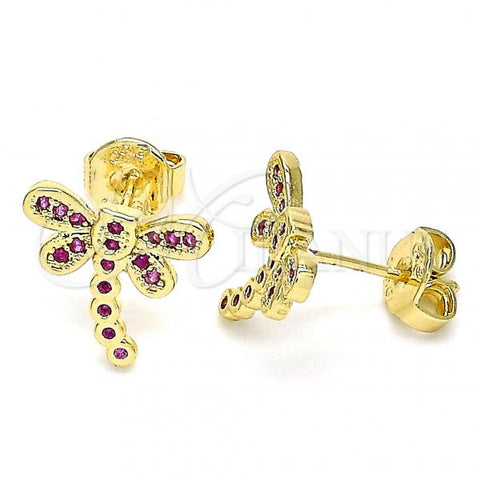 Gold Layered 02.156.0396.3 Stud Earring, Dragon-Fly Design, with Ruby Micro Pave, Polished Finish, Golden Tone