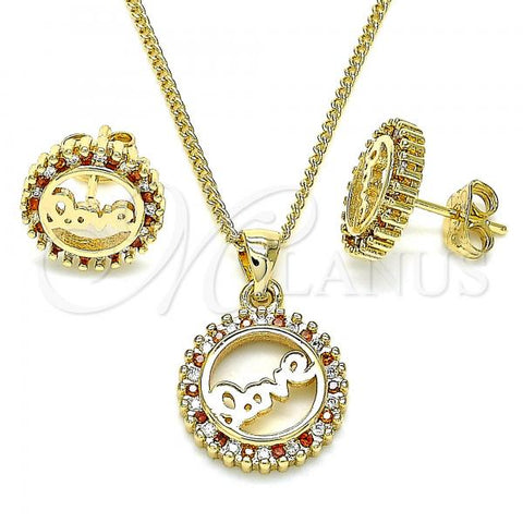 Gold Layered 10.342.0017.2 Earring and Pendant Adult Set, Love Design, with Garnet and White Micro Pave, Polished Finish, Golden Tone