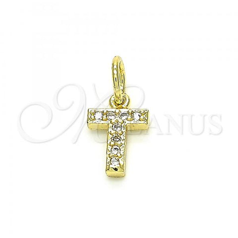 Gold Layered 05.341.0037 Fancy Pendant, Initials Design, with White Cubic Zirconia, Polished Finish, Golden Tone