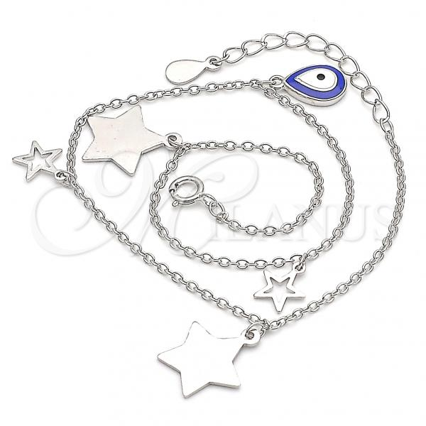 Sterling Silver 03.336.0050.10 Charm Anklet , Teardrop and Star Design, Blue Enamel Finish, Rhodium Tone
