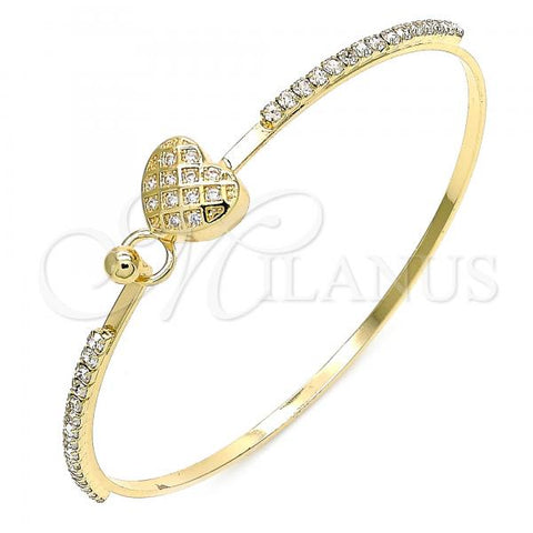 Gold Layered 07.193.0022.04 Individual Bangle, Heart Design, with White Micro Pave and White Crystal, Polished Finish, Golden Tone (02 MM Thickness, Size 4 - 2.25 Diameter)