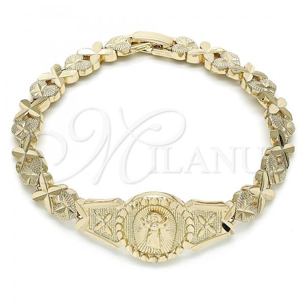 Gold Layered 03.100.0063.07 Fancy Bracelet, Divino Niño and Heart Design, Diamond Cutting Finish, Golden Tone