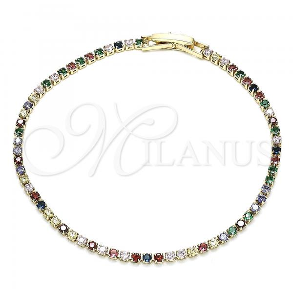 Gold Layered 03.130.0006.07 Tennis Bracelet, Polished Finish, Golden Tone with Multicolor Cubic Zirconia, Polished Finish, Golden Tone