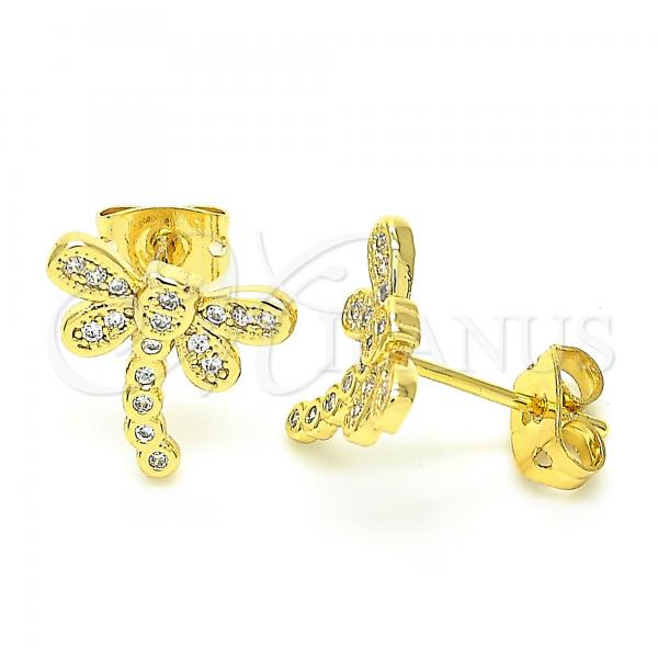 Gold Layered 02.156.0396 Stud Earring, Dragon-Fly Design, with White Micro Pave, Polished Finish, Golden Tone
