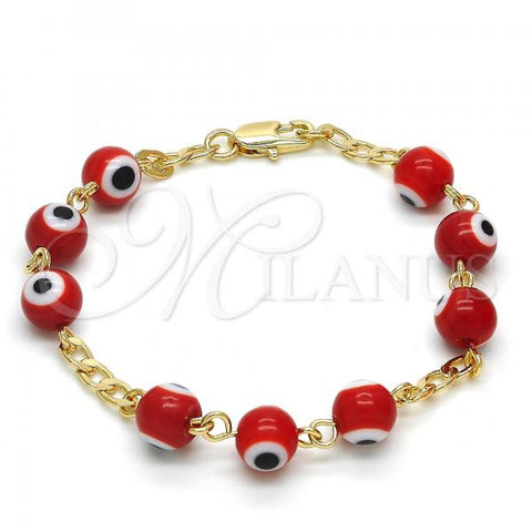 Gold Layered 03.63.2069.07 Fancy Bracelet, Greek Eye Design, with Garnet Opal, Red Resin Finish, Golden Tone