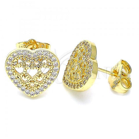 Gold Layered 02.156.0502 Stud Earring, Heart Design, with White Micro Pave, Polished Finish, Golden Tone