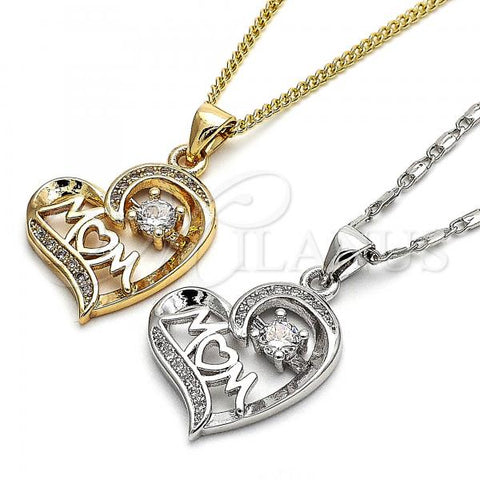 Gold Layered Pendant Necklace, Heart Design, with Cubic Zirconia and Micro Pave, Golden Tone