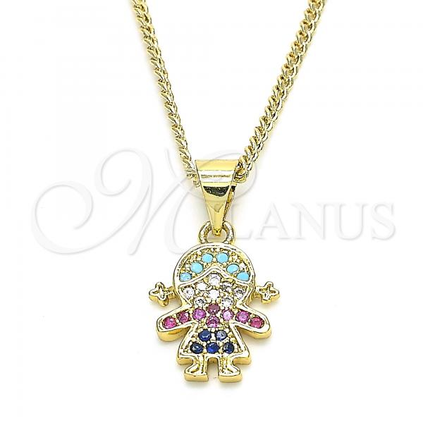 Gold Layered 04.341.0016.20 Fancy Necklace, Little Girl Design, with Multicolor Cubic Zirconia, Polished Finish, Golden Tone