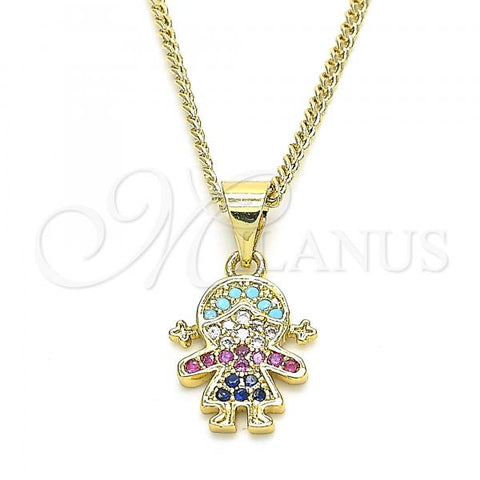 Gold Layered 04.341.0016.20 Pendant Necklace, Little Girl Design, with Multicolor Cubic Zirconia, Polished Finish, Golden Tone