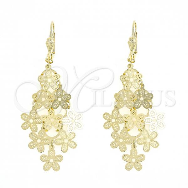 Gold Layered 5.075.006 Chandelier Earring, Flower Design, Polished Finish, Golden Tone