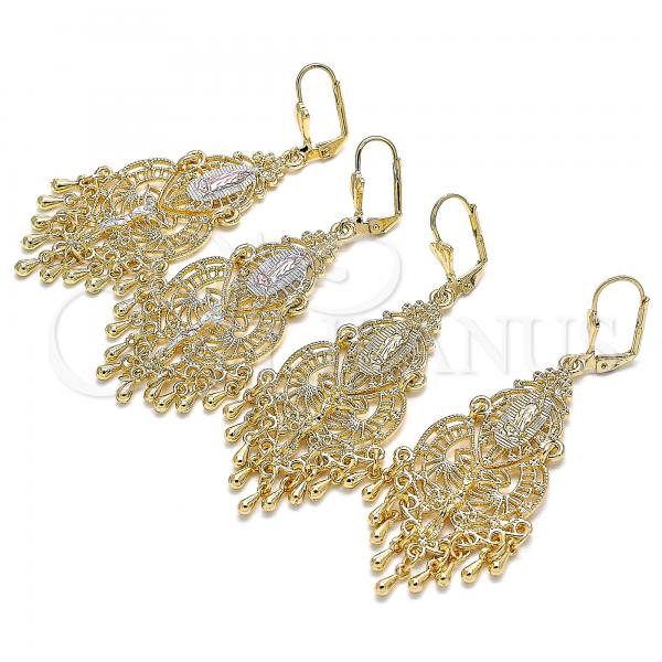Gold Layered Long Earring, Guadalupe Design, Tri Tone