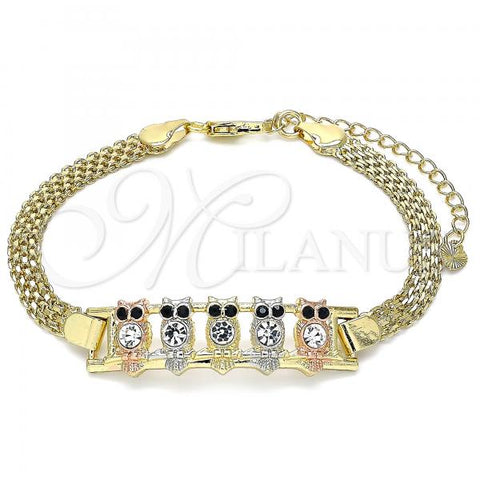 Gold Layered 03.380.0018.08 Fancy Bracelet, Owl Design, with White and Black Crystal, Polished Finish, Tri Tone