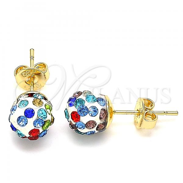 Gold Layered 02.63.2707.1 Stud Earring, with Multicolor Crystal, Polished Finish, Golden Tone