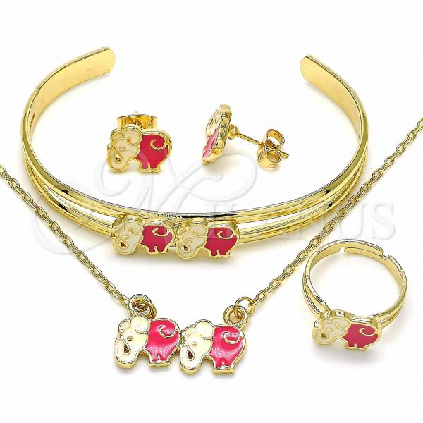 Gold Layered 06.361.0011 Necklace, Bracelet, Earring and Ring, Elephant Design, Pink Enamel Finish, Golden Tone
