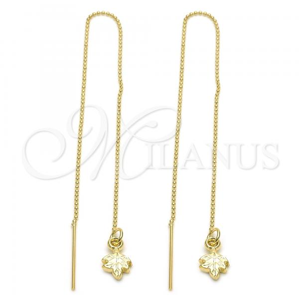 Gold Layered 5.116.003 Threader Earring, Leaf Design, Golden Tone