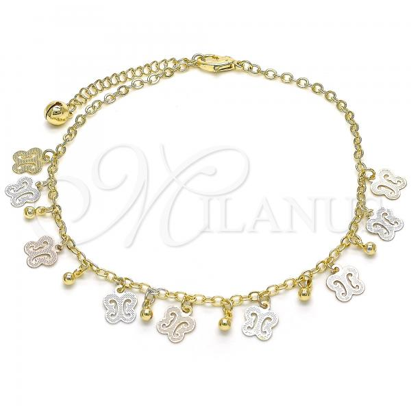 Gold Layered 03.331.0035.10 Charm Anklet , Butterfly and Rattle Charm Design, Polished Finish, Tri Tone