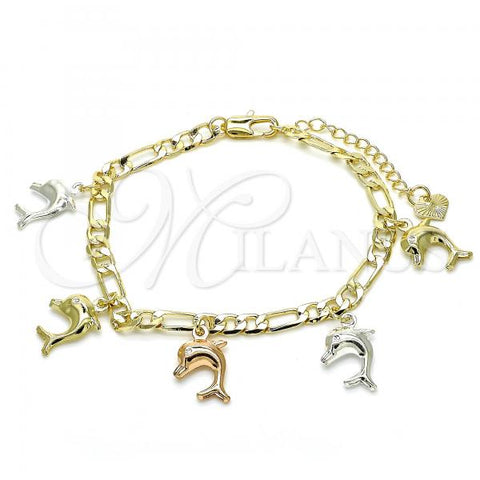 Gold Layered 03.351.0014.07 Charm Bracelet, Dolphin Design, Polished Finish, Tri Tone