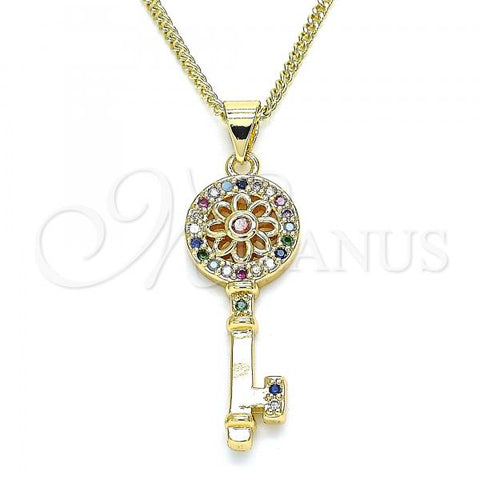 Gold Layered 04.344.0006.2.20 Pendant Necklace, key and Flower Design, with Multicolor Micro Pave, Polished Finish, Golden Tone