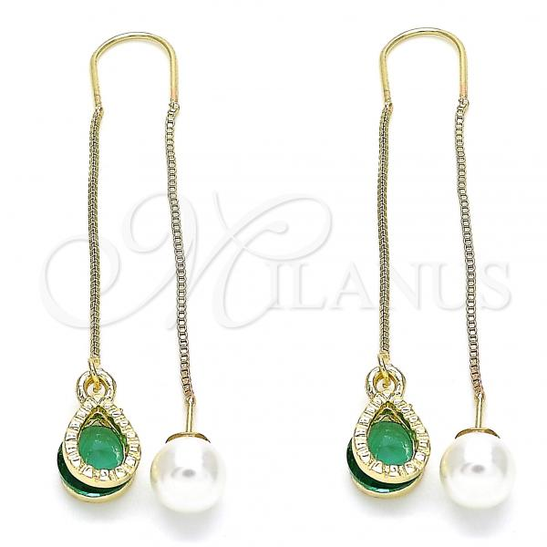 Gold Layered 02.351.0093.3 Threader Earring, Teardrop Design, with Green Cubic Zirconia, Polished Finish, Golden Tone