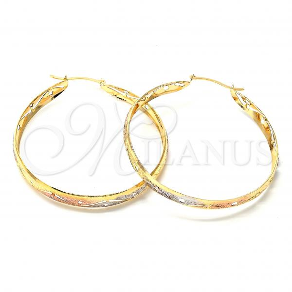 Gold Layered 107.004 Large Hoop, Diamond Cutting Finish, Tri Tone
