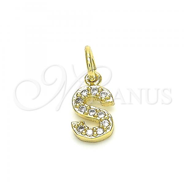 Gold Layered 05.341.0036 Fancy Pendant, Initials Design, with White Cubic Zirconia, Polished Finish, Golden Tone
