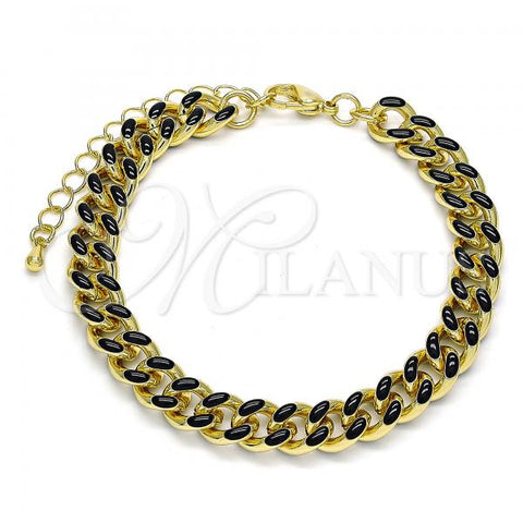 Gold Layered 03.341.0075.7.07 Basic Bracelet, Miami Cuban Design, Polished Finish, Golden Tone