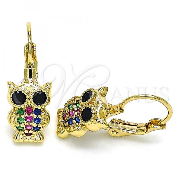 Gold Layered 02.210.0380.3 Leverback Earring, Owl Design, with Multicolor Micro Pave, Polished Finish, Golden Tone