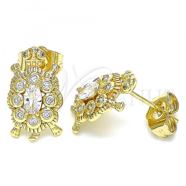 Gold Layered 02.210.0414 Stud Earring, Turtle Design, with White Cubic Zirconia, Polished Finish, Golden Tone